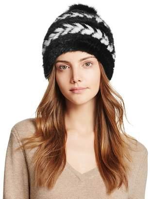 Maximilian Furs Fox Fur Pom-Pom Knit Mink Fur Hat - 100% Exclusive