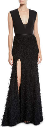 Halston Sleeveless Gown w/ Boucle Feather Skirt