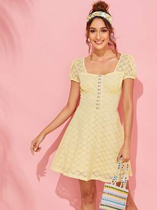 11b9daf0564503 Shein Hook and Eye Placket Floral Lace Dress