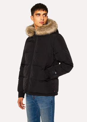 Paul Smith Men's Black Down-Filled Jacket With Faux Fur Hood Detail