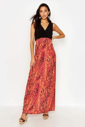boohoo Tall Snake Print Maxi Dress