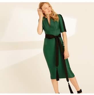 Amanda Wakeley Emerald Herringbone Fitted Shift Dress