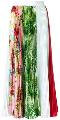 MSGM floral colourblock pleated skirt