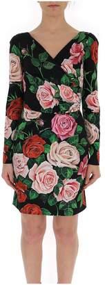 Dolce & Gabbana Floral Print V Neck Wrapped Dress