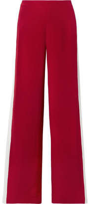 ADAM by Adam Lippes Striped Silk-crepe Wide-leg Pants - Red