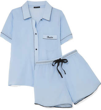 Morgan Lane - Bestie Embroidered Cotton-gauze Pajama Set - Light blue
