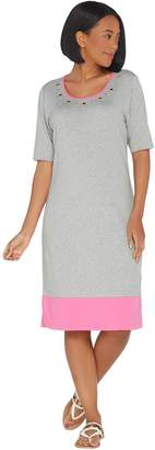 Factory Quacker Color-Blocked Knit Dress with Rhinestone Grommets