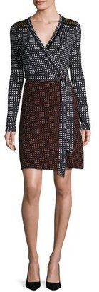 Diane von Furstenberg Mixed Dot-Print Jersey Wrap Dress, Black $468 thestylecure.com