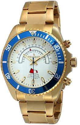 Peugeot Men's Masculine 14K Gold Plated Large Big Face Stainless Steel Blue Bezel Day Date Luxury Dress Watch 1048G