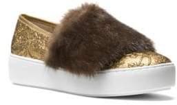 Michael Kors Lorelai Mink Fur & Metallic Skate Sneakers
