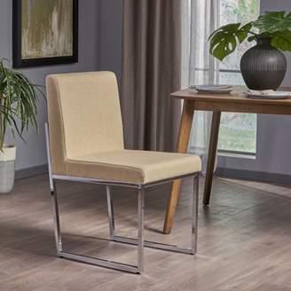 BEIGE Noble House Eileen Modern Fabric Dining Chair with Iron Legs, Dark Beige, Chrome