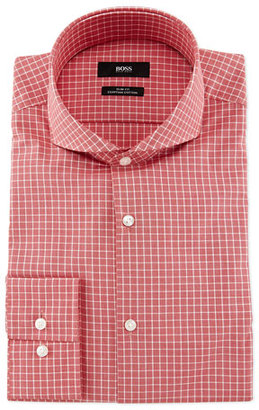 Boss Hugo Boss Dwayne Slim-Fit End-On-End Check Dress Shirt, Red/White $195 thestylecure.com