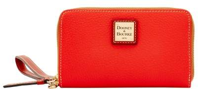 Dooney & Bourke Pebble Grain Zip Around Phone Wristlet - SALMON - STYLE