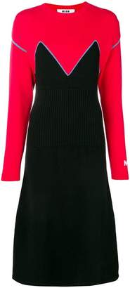 MSGM colour-block knitted dress