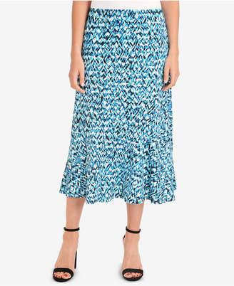 NY Collection Printed Diagonal-Seam Skirt