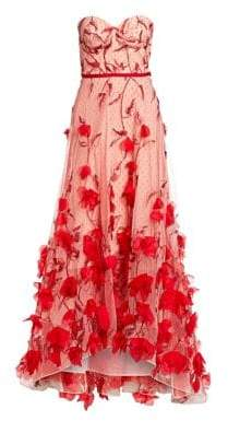 Marchesa Strapless Floral-Embroidered High-Low A-line Gown