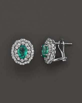 Bloomingdale's Emerald and Diamond Oval Stud Earrings in 14K White Gold - 100% Exclusive