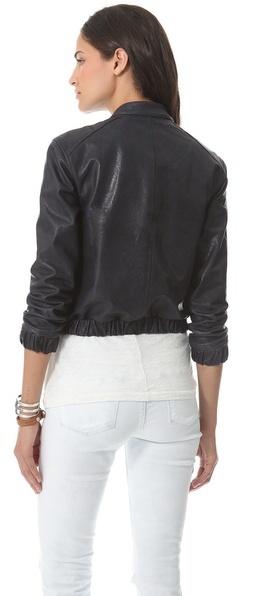 Charlotte Ronson Varsity Leather Jacket