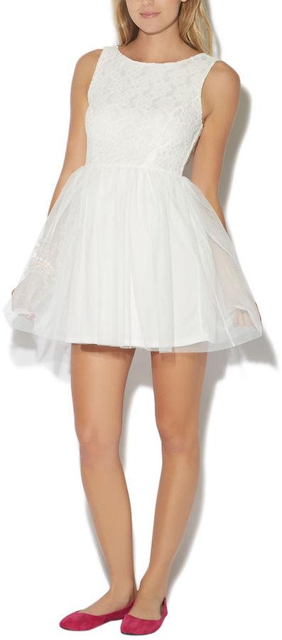 Wet Seal Crochet V-Back Tulle Dress