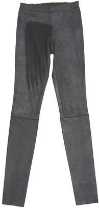 STOULS Anthracite Leather Trousers for Women