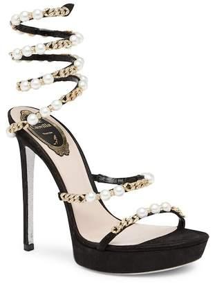 Rene Caovilla Snake Pearl Accented Wraparound Sandal