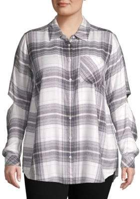 Vince Camuto Plus Plaid Cutout Button-Down Shirt