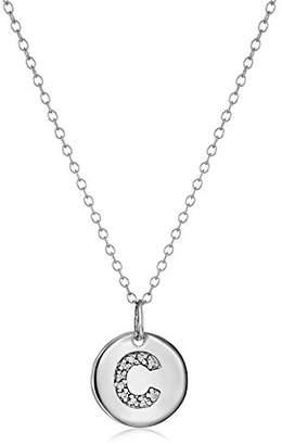 "Diamond Disc Initial""W"" Pendant Necklace"