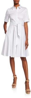 Badgley Mischka Full Skirt Short-Sleeve Day Dress