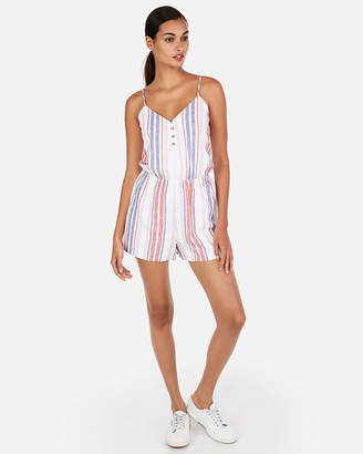 db5eb4bc8d0 Express Stripe Button Front Linen-Blend Romper