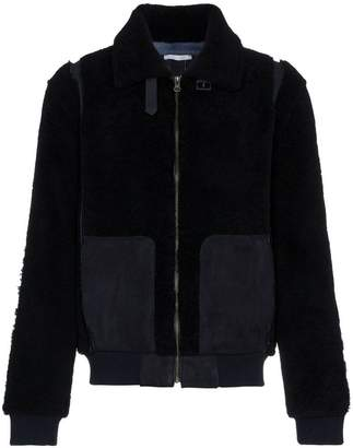 Lot 78 Lot78 Leather and Shearling long sleeve jacket