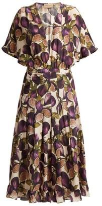 Adriana Degreas Silk Crepe Fig Print Midi Dress - Womens - Purple Print