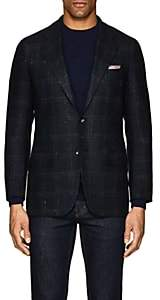 Kiton Men's Checked Cashmere-Blend Two-Button Sportcoat-Navy