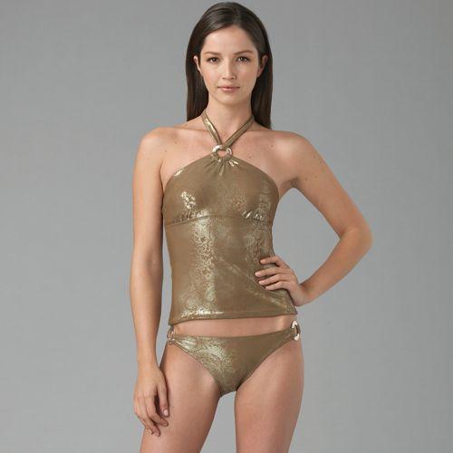 Badgley Mischka Metallic Paisley Swimsuit