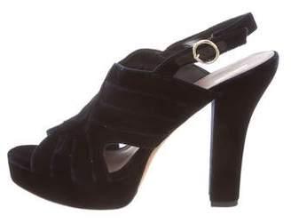 Diane von Furstenberg Velvet Platform Sandals