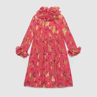 Gucci Children's bouquets print silk dress