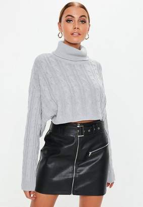 Missguided Gray Cable Turtle Neck Cropped Knit Sweater