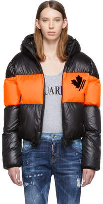 DSQUARED2 Black and Orange Down Contrast Band Jacket
