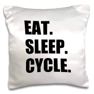 3dRose Eat Sleep Cycle - passionate about cycling - bicycle enthusiast gifts - Pillow Case, 16 by 16-inch