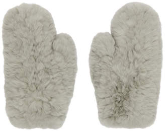 Yves Salomon Grey Fur Handwarmer Gloves