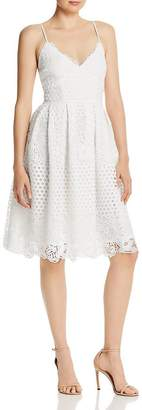 Aqua Pleated Lace Fit-and-Flare Dress - 100% Exclusive