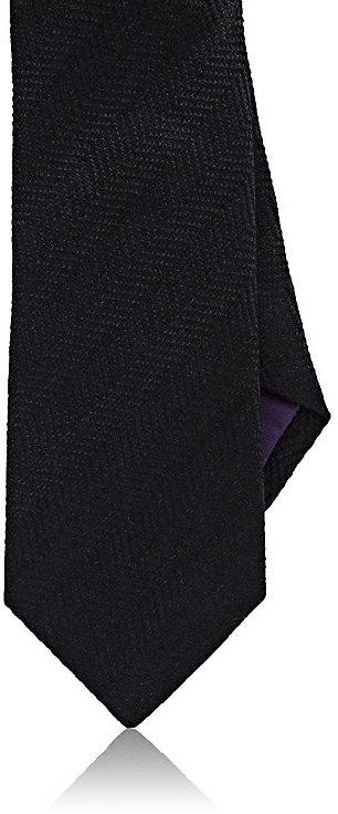 Ralph Lauren Purple LabelRalph Lauren Purple Label Men's Herringbone Linen-Silk Necktie-Black