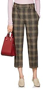 Acne Studios Women's Plaid Wool-Mohair Crop Trousers-Brown