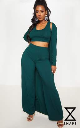 PrettyLittleThing Shape Emerald Green Ribbed Duster Jacket