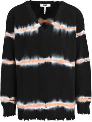 MSGM V-neck Tie Dye Sweater