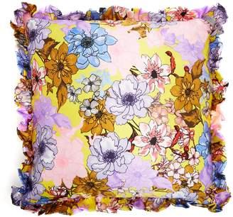 Floral-print silk-satin cushion