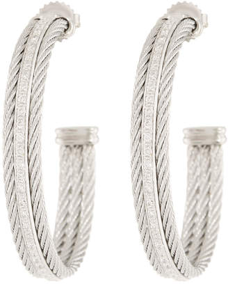 Alor Classique Hoop Earrings w/ Diamond Center