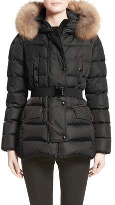 Moncler Clio Belted Down Puffer Coat with Removable Genuine Fox Fur Trim