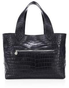 Ethan K Ethan K Women's Helen Crocodile Leather Tote - Black Matte