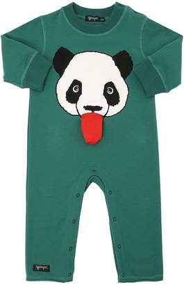 Panda Printed Cotton Sweatshirt Romper