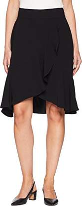 Nine West Women's Crepe Asymetrical Ruffle Skirt